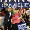 Barack Obama and Washington State Governor Christine Gregoire pledge support for one another during Washington State Democratic Primaries